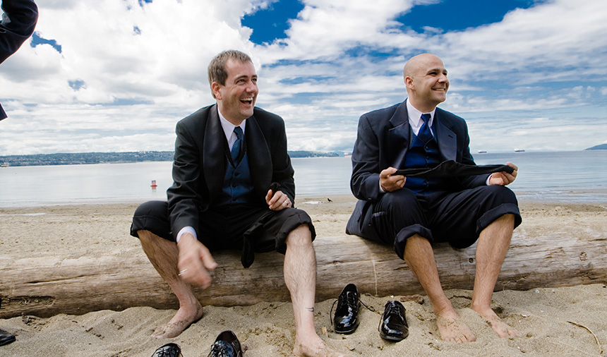 Gay wedding photography on Second Beach near English Bay in Vancouver's West End