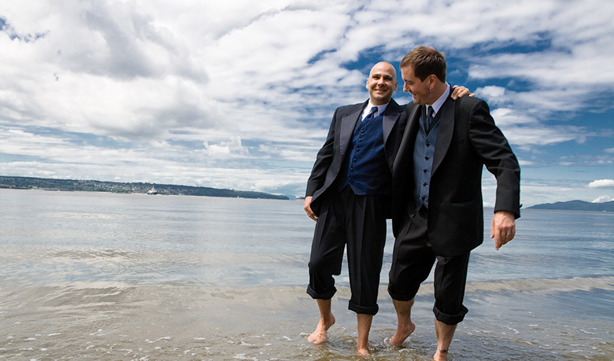 Gay wedding photography in English Bay, West End, Vancouver BC Canada