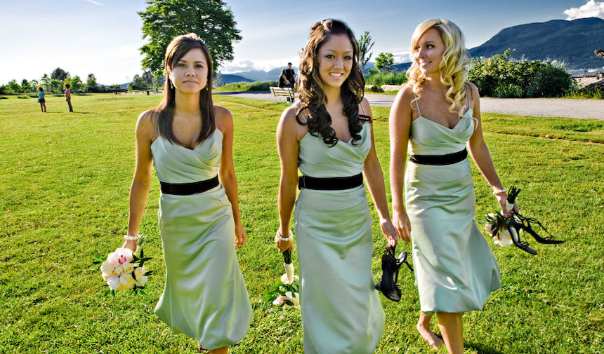 Vancouver wedding photography shoot: Pretty bridesmaids along Jericho Beach near Spanish Banks