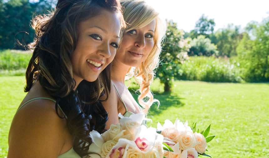 Bridesmaids on a Vancouver wedding photography shoot near the Jericho duck pond by Spanish Banks