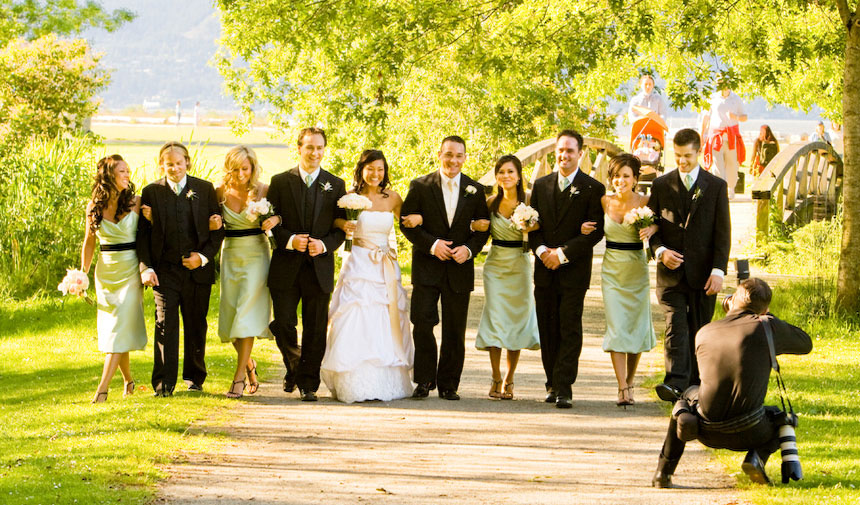Bridal party by Jericho beach duck pond during Vancouver wedding photography shoot