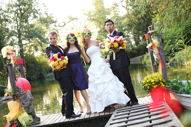 vancouver wedding photographer funny photo of party with oversized glasses in White Rock BC