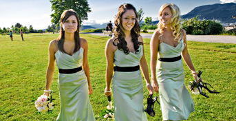Bridesmaids enjoy Vancouver wedding photography along Jericho Beach